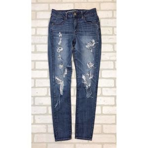 American Eagle Ripped Distressed Hi Rise Jeggings